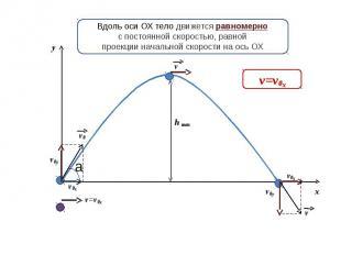 Вдоль оси ОХ тело движется равномернос постоянной скоростью, равнойпроекции нача