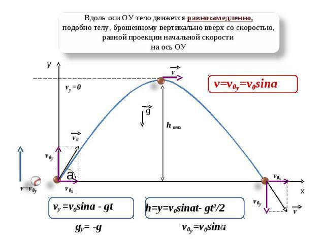 Вдоль оси ОУ тело движется равнозамедленно,подобно телу, брошенному вертикально вверх со скоростью, равной проекции начальной скорости на ось ОУ v=v0y=v0sina vy =v0sina - gt h=y=v0sinat- gt2/2