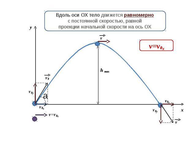 Вдоль оси ОХ тело движется равномернос постоянной скоростью, равнойпроекции начальной скорости на ось ОХ