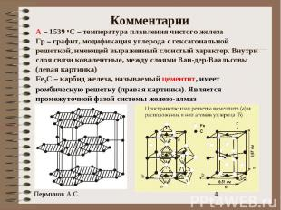 Комментарии А – 1539 оС – температура плавления чистого железаГр – графит, модиф