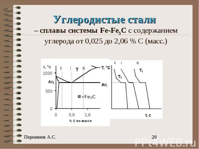 Углеродистые стали – cплавы системы Fe-Fe3C с содержанием углерода от 0,025 до 2,06 % С (масс.)