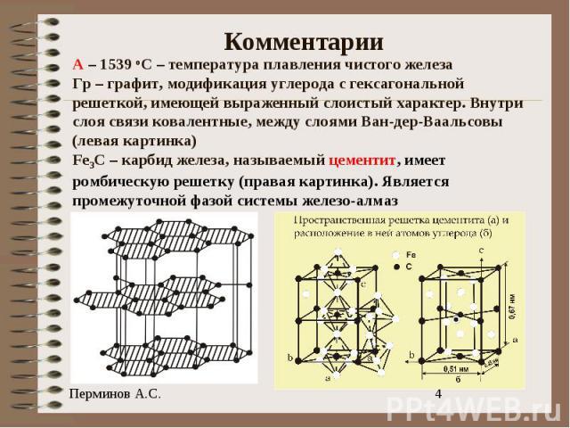 Комментарии А – 1539 оС – температура плавления чистого железаГр – графит, модификация углерода с гексагональной решеткой, имеющей выраженный слоистый характер. Внутри слоя связи ковалентные, между слоями Ван-дер-Ваальсовы(левая картинка)Fe3C – карб…