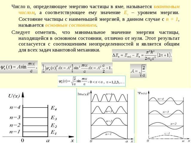Число n, определяющее энергию частицы в яме, называется квантовым числом, а соответствующее ему значение En – уровнем энергии. Состояние частицы с наименьшей энергией, в данном случае с n = 1, называется основным состоянием. Следует отметить, что ми…