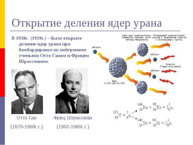 Открытие деления ядер урана В 1938г. (1939г.) - было открыто деление ядер урана при бомбардировке их нейтронами учеными Отто Ганом и Фрицем Шрассманом. Фриц Штрассман(1902-1980г.г.) Отто Ган(1879-1968г.г.)