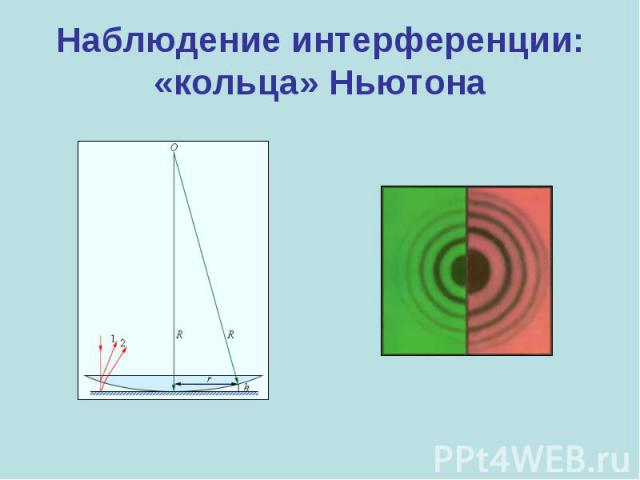 Наблюдение интерференции:«кольца» Ньютона