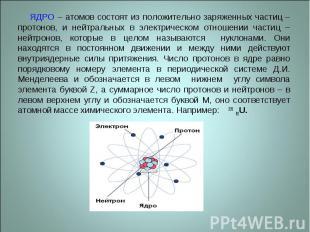 ЯДРО – атомов состоят из положительно заряженных частиц – протонов, и нейтральны
