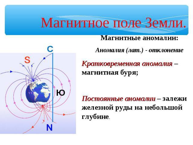Магнитное поле Земли. Магнитные аномалии:Аномалия (лат.) - отклонениеКратковременная аномалия – магнитная буря;Постоянные аномалии – залежи железной руды на небольшой глубине.