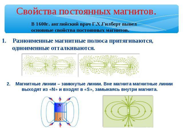 Свойства постоянных магнитов. В 1600г. английский врач Г.Х.Гилберт вывел основные свойства постоянных магнитов. 1. Разноименные магнитные полюса притягиваются, одноименные отталкиваются. 2. Магнитные линии – замкнутые линии. Вне магнита магнитные ли…