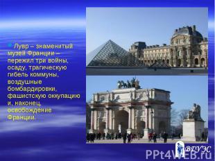 Лувр – знаменитый музей Франции – пережил три войны, осаду, трагическую гибель к