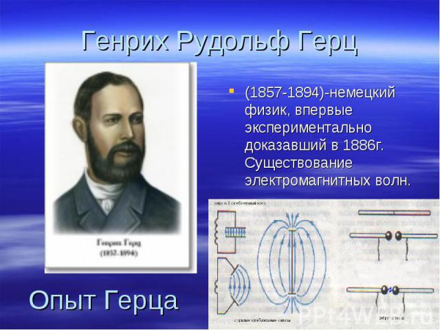 Генрих Рудольф Герц (1857-1894)-немецкий физик, впервые экспериментально доказавший в 1886г. Существование электромагнитных волн. Опыт Герца