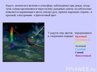Радуга, оптическое явление в атмосфере, наблюдаемое при дожде, когда лучи солнца