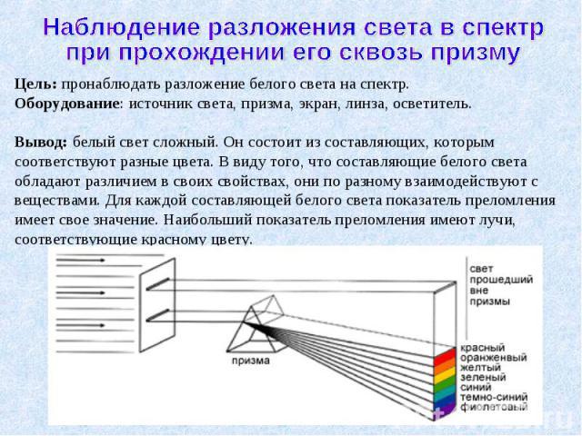Наблюдение разложения света в спектр при прохождении его сквозь призму Цель: пронаблюдать разложение белого света на спектр. Оборудование: источник света, призма, экран, линза, осветитель.Вывод: белый свет сложный. Он состоит из составляющих, которы…