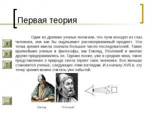 Первая теория Одни из древних ученых полагали, что лучи исходят из глаз человека