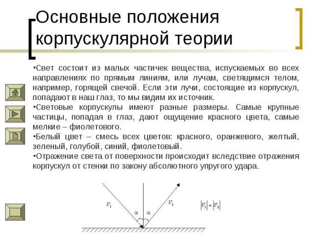 Основные положения корпускулярной теории Свет состоит из малых частичек вещества, испускаемых во всех направлениях по прямым линиям, или лучам, светящимся телом, например, горящей свечой. Если эти лучи, состоящие из корпускул, попадают в наш глаз, т…
