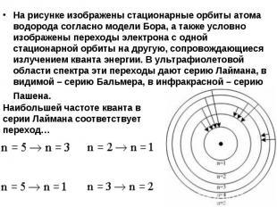 На рисунке изображены стационарные орбиты атома водорода согласно модели Бора, а