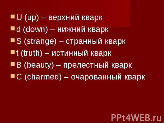 U (up) – верхний кваркd (down) – нижний кваркS (strange) – странный кваркt (truth) – истинный кваркВ (beauty) – прелестный кваркС (charmed) – очарованный кварк
