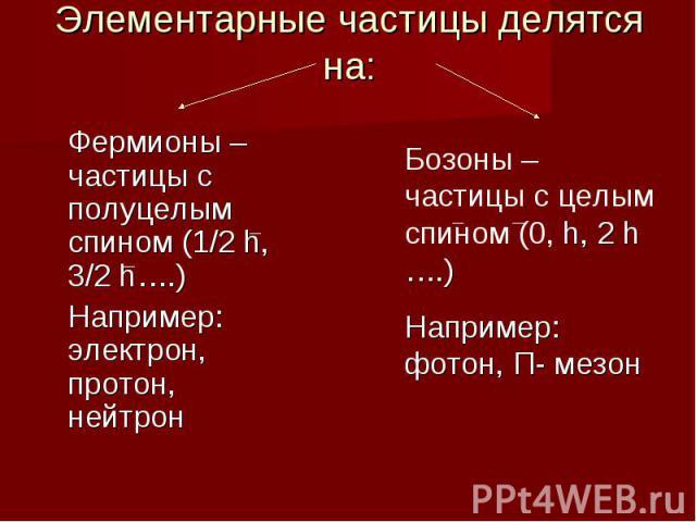 Элементарные частицы делятся на: Фермионы – частицы с полуцелым спином (1/2 h, 3/2 h….)Например: электрон, протон, нейтрон Бозоны – частицы с целым спином (0, h, 2 h ….)Например: фотон, П- мезон