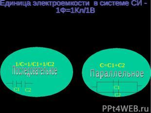 Единица электроемкости в системе СИ - 1Ф=1Кл/1В Соединения конденсаторов условно