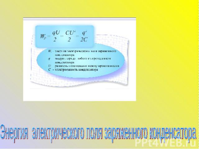 Энергия электрического поля заряженного конденсатора
