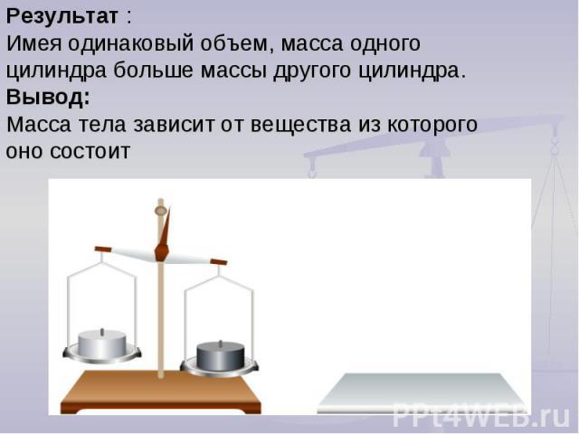 Результат :Имея одинаковый объем, масса одного цилиндра больше массы другого цилиндра. Вывод: Масса тела зависит от вещества из которого оно состоит