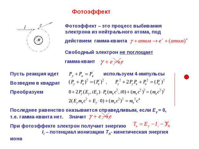 Фотоэффект Фотоэффект – это процесс выбивания электрона из нейтрального атома, под действием гамма-кванта Свободный электрон не поглощает гамма-квант Пусть реакция идет используем 4-импульсыВозведем в квадрат ПреобразуемПоследнее равенство оказывает…