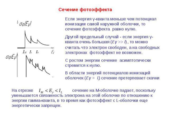 Если энергия γ-кванта меньше чем потенциал ионизации самой наружной оболочки, то сечение фотоэффекта равно нулю.Другой предельный случай - если энергия γ-кванта очень большая (Еγ >> I) , то можно считать что электрон свободен, а на свободных электро…