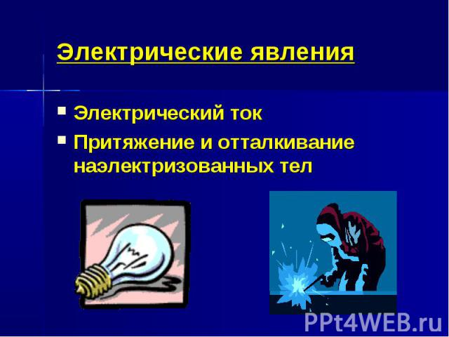 Электрические явленияЭлектрический токПритяжение и отталкивание наэлектризованных тел