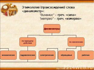 """Этимология (происхождение) слова «динамометр»: """"динамис""""– греч. «сила» """"метрео"""""""