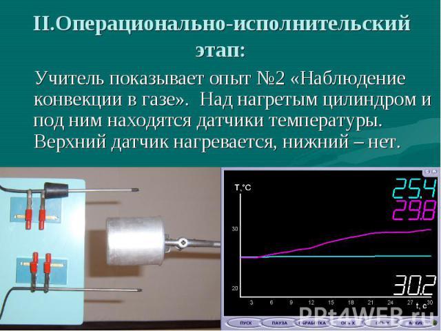 II.Операционально-исполнительский этап: Учитель показывает опыт №2 «Наблюдение конвекции в газе». Над нагретым цилиндром и под ним находятся датчики температуры. Верхний датчик нагревается, нижний – нет.