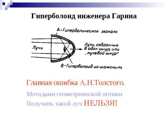 Гиперболоид инженера Гарина Методами геометрической оптикиПолучить такой луч НЕЛЬЗЯ!