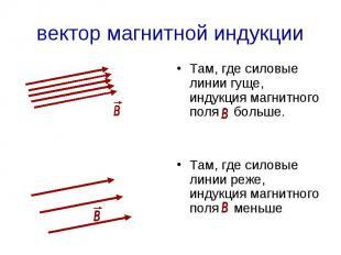 вектор магнитной индукции Там, где силовые линии гуще, индукция магнитного поля