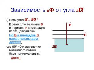 Зависимость ΔФ от угла Δα 2) Если угол α= 90 º В этом случае линии В и нормали n