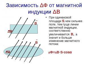 Зависимость ΔФ от магнитной индукции ΔВ При одинаковой площади S,чем сильнее пол
