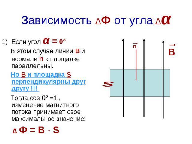 Зависимость ΔФ от угла Δα Если угол α = 0º В этом случае линии В и нормали n к площадке параллельны. Но В и площадка S перпендикулярны друг другу !!! Тогда cos 0º =1 , изменение магнитного потока принимает свое максимальное значение: Δ Ф = B · S