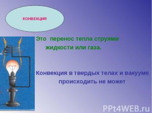 КОНВЕКЦИЯ Это перенос тепла струями жидкости или газа. Конвекция в твердых телах