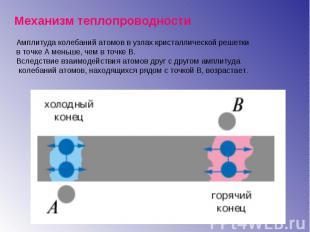 Амплитуда колебаний атомов в узлах кристаллической решетки в точке А меньше, чем