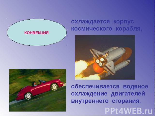 охлаждается корпус космического корабля, обеспечивается водяное охлаждение двигателей внутреннего сгорания.