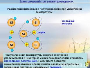 Электрический ток в полупроводниках Рассмотрим изменения в полупроводнике при ув