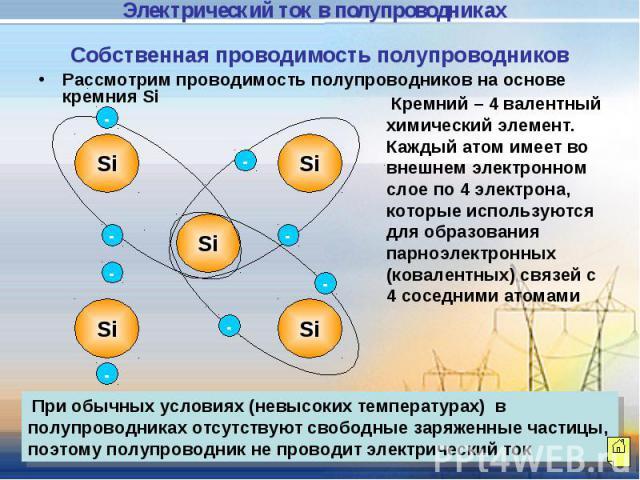 Собственная проводимость полупроводников Рассмотрим проводимость полупроводников на основе кремния Si Кремний – 4 валентный химический элемент. Каждый атом имеет во внешнем электронном слое по 4 электрона, которые используются для образования парноэ…