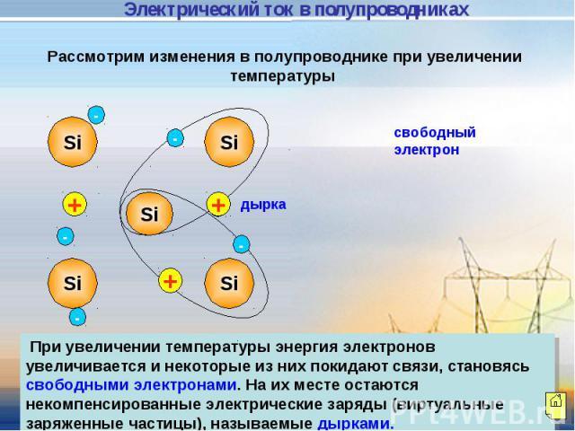 Электрический ток в полупроводниках Рассмотрим изменения в полупроводнике при увеличении температуры При увеличении температуры энергия электронов увеличивается и некоторые из них покидают связи, становясь свободными электронами. На их месте остаютс…