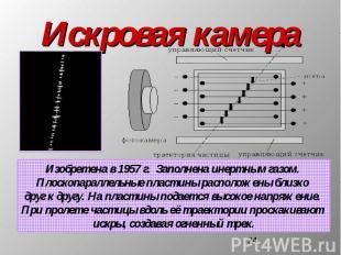 Искровая камера Изобретена в 1957 г. Заполнена инертным газом. Плоскопараллельны