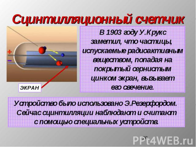 Сцинтилляционный счетчик В 1903 году У.Круксзаметил, что частицы, испускаемые радиоактивнымвеществом, попадая напокрытый сернистымцинком экран, вызываетего свечение. Устройство было использовано Э.Резерфордом. Сейчас сцинтилляции наблюдают и считают…