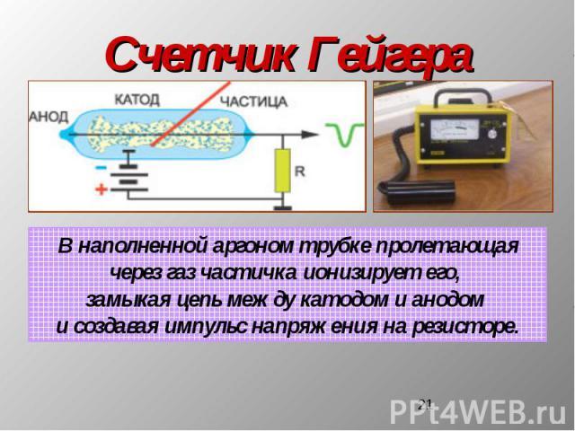 Счетчик ГейгераВ наполненной аргоном трубке пролетающаячерез газ частичка ионизирует его, замыкая цепь между катодом и анодом и создавая импульс напряжения на резисторе.