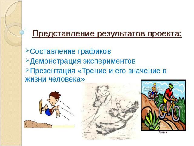 Представление результатов проекта: Составление графиковДемонстрация экспериментовПрезентация «Трение и его значение в жизни человека»