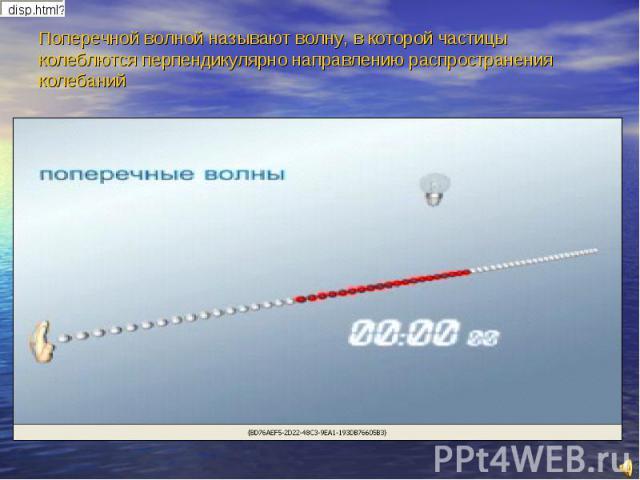 Поперечной волной называют волну, в которой частицы колеблются перпендикулярно направлению распространения колебаний
