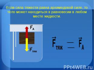 Если сила тяжести равна архимедовой силе, то тело может находиться в равновесии