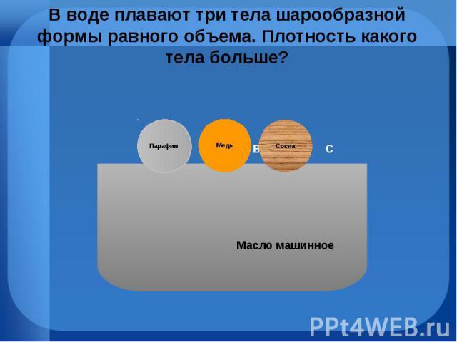 В воде плавают три тела шарообразной формы равного объема. Плотность какого тела больше?