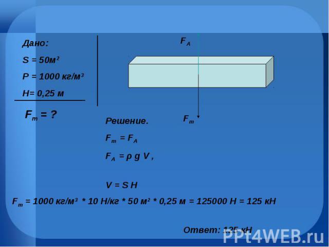 Дано:S = 50м2Ρ = 1000 кг/м3H= 0,25 м Решение. Fт = FАFA = ρ g V , V = S H Fт = 1000 кг/м3 * 10 Н/кг * 50 м2 * 0,25 м = 125000 Н = 125 кН