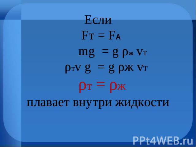 Если Fт = FА mg = g ρж vт ρтv g = g ρж vт ρт = ρжплавает внутри жидкости