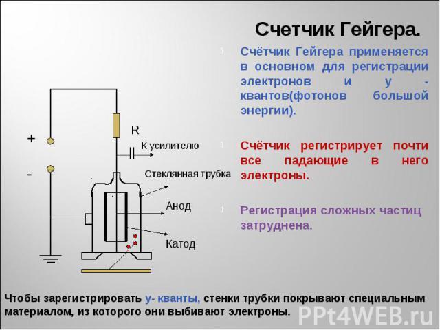 Счетчик Гейгера. Счётчик Гейгера применяется в основном для регистрации электронов и y - квантов(фотонов большой энергии).Счётчик регистрирует почти все падающие в него электроны.Регистрация сложных частиц затруднена. Чтобы зарегистрировать y- квант…